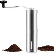 niceEshop(TM) Adjustable Ceramic Burr Manual Coffee Grinder, 30g Coffee Powder Yield