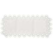 41cm X 90cm TABLE RUNNER QUALITY 13cm DEEP MACRAME LACE EASY CARE