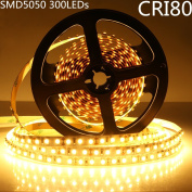 LightingWill LED Strip Lights CRI80 SMD5050 300LEDs 16.4Ft/5M Ultra Warm White 2700K-3000K DC12V 72W 60LED/M 14.4W/M 10mm White PCB Flexible Ribbon Strip with Adhesive Tape Non-Waterproof M5050UWW300N