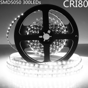 LightingWill LED Strip Light Kit CRI80 SMD5050 16.4Ft(5M) 300LEDs Pure White 5000K-6000K 60LEDs/M DC12V 72W 14.4W/M 10mm White PCB Flexible Ribbon Strip with Adhesive Tape Non-Waterproof M5050PW300N