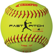 Champro Game ASA Fastpitch .47 COR, 375 Compression, Poly Synthetic Cover, Red Stiches (Optic Yellow, 30cm ), Pack of 12