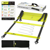 SkillFit 4.6m Footwork Agility Ladder and A3 Laminated Drill Chart for Speed Training Fitness Workouts and HIIT Cardio with 11 Adjustable Rungs