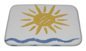 Gear New Bath Rug Mat No Slip Microfiber Memory Foam, Blue Sun And Sea, 24x17