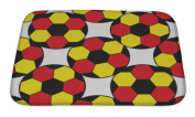 Gear New Bath Rug Mat No Slip Microfiber Memory Foam, Red Pattern With Germany Flags And Soccer Balls, 24x17