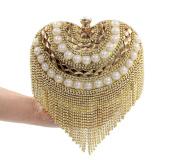 Flada Women Crystal Pearls Heart Shaped Handbag Evening Clutch Purse Tassel Wedding Bags Gold 1