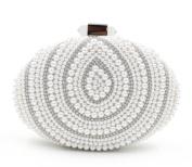 Flada Luxury Ladies Women Beaded Pearl Evening Handbag Wedding Clutch Purse Bags White