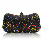 Flada Girl's Dazzling Crystal Clutch and Evening Bag Purse Purple
