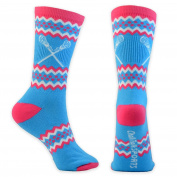 ChalkTalkSPORTS Athletic Half Cushioned Crew Socks | Aztec Girls Lacrosse Design | Neon Blue