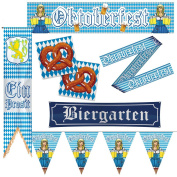 Oktoberfest bunting blue white 40 x 180 cm Bavaria pennant decoration Bavarian bunting Banner Beer Festival pennon party accessory chequered Tyrolean accessories decorative tirolean streamer