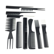 Pro Salon Hair Styling Hairdressing Plastic Barbers Brush Combs Set