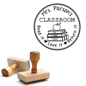 Wooden Handle Stamp From the Library of Teacher Gift Customizable Teacher Stamp This Belongs to Labels Personalised Circle Classroom Stamp