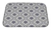 Gear New Bath Rug Mat No Slip Microfiber Memory Foam, Silver Nautical Pattern With Steering Wheels, 24x17