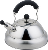 Buckingham Stove Top Induction Whistling Kettle 3 Litre - Stainless Steel Matt Finish with Black Soft Grip handle