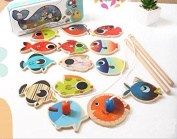 Agooding Magnetic Fishing Playset with 14 Fishes and 2 Poles by Agooding