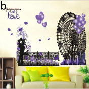 3D purple dandelion removable wall sticker paper flower ball stickers for crafts , b