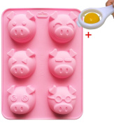J*myi 6 cute multi-expression pig cake silicone mould baking handmade chocolate mould