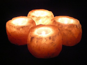 4 SALT CANDLE TEA LIGHT HOLDERS 100 % PREMIUM AND FINE QUALITY NATURAL PINK HIMALAYAN CRYSTAL ROCK SALT FROM SOURCEDIY®