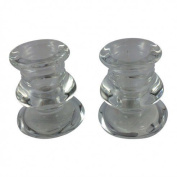 Set of 2 Clear Glass Candle Holders