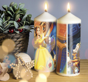 Beauty and The Beast Belle Christmas Candle. Pillar Candle. 150mm Candle Handmade and Handprinted. 1 Candle included. Image shows front and back of candle.
