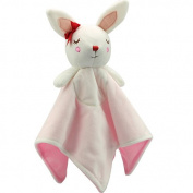 Snooze Baby Security Blankets Ultra Soft Plush Breathable Snuggle Blanket Sleeping Bunny, Light Pink