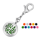 HOUSWEETY Aromatherapy Essential Oil Diffuser Necklace - Stainless Steel Locket Pendant,11 Refill Pads+1 Lobster Clasp
