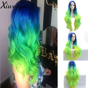 Heat Resistant Fibre Hair mermaid ombre blue green yellow colour nature straight wig Synthetic lace front wig for women