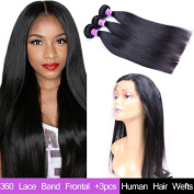 "AliBarbara Peruvian Straight Hair 3 Bundles with 360 Lace Band Frontal 60cm x 10cm x 2"" 360 Lace Band Frontal With Baby Hair Natural Hairline Natural Colour"