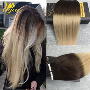 Ugeat 60cm Invisble Skin Weft Remy Human Hair Tape in Extensions Omber Coloured Brown to Blonde Straight Glue in Hair Extensions