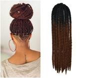 60cm Crochet Braid Hair Extensions, Havana Mambo Twist 12 Strands/ Pack, 120g, Black to Medium Auburn