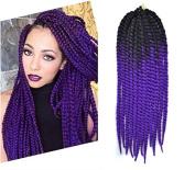 60cm Crochet Braid Hair Extensions, Havana Mambo Twist 12 Strands/ Pack, 120g, Black to Purple