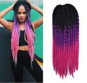 60cm Crochet Braid Hair Extensions, Havana Mambo Twist 12 Strands/ Pack, 120g, Black to Purple to Pink