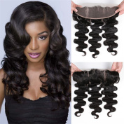 Halo Lady 100% Human Hair Body Wave Lace Frontal Closure 33cm x 10cm Ear To Ear Free Part Unprocessed Brazilian Virgin Hair Front Closure With Baby Hair Nature Colour 46cm