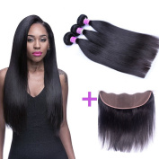 AliBarbara 13x4 Lace Frontal With Bundles Peruvian Virgin Hair Straight 4 Bundles with Ear to Ear Full Lace Frontal Unprocessed Virgin Hair Weave