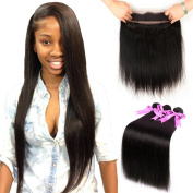 ANNMODE hair 360 Lace Frontal Band with Bundles 360 Frontal with Baby Hair Brazilian Straight Virgin Hair Natural Colour Human Hair Extensions 26 26 26+50cm