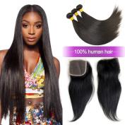 Charming 8A Brazilian Straight Hair Weaves 3pcs/lot with Lace Closure Free Part Virgin Remy Cheap Human Hair Bundles Natural Colour