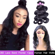 "AliBarbara 8A Peruvian Virgin Body Wave Human Hair Bundles 3pcs + 360 Lace Band Frontal Closure 60cm x 10cm x 2"" Lace Band Frontal Closure with Natural Hairline Natural Colour"
