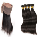 360 Lace Frontal Closure With 4Pcs Brazilian straight Virgin Hair, Hair Bundles with 360 Lace Frontal Closure With Baby Hair 22.5x 4inch x 5.1cm 5Pcs/lot by Halo Lady