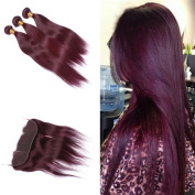 Tony Beauty Hair Wine Red #99J Straight Hair Bundles With 13x 4 Lace Frontal Closure Pure Colour Ear To Ear Full Lace Frontal With Hair Extension 4Pcs/Lot