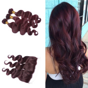 Tony Beauty Hair Brazilian Human Hair Body Wave Hair Bundles With Lace Frontal Closure 13x 4 Wine Red #99J Hair Weft With Ear To Ear Full Lace Frontal