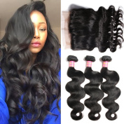Mscove Hair 360 Lace Frontal with Bundles Body Wave 3 Bundles Brazilian Virgin Human Hair Weaves & One 360 Lace Frontal Closure