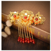 Golden Red Tassels Chinese Cheongsam Headdress Ornaments