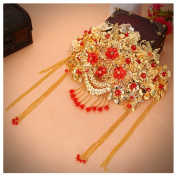 Golden Red Tassels Chinese Cheongsam Headdress Frontlet