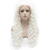 Mxangel Long Pure White Curly Wig Heat Friendly Fibre Lace front Cosplay Party Wig