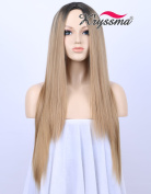 K'ryssma Fashion Ombre Blonde Glueless Synthetic Wigs for Women 2 Tones Black Roots to Honey Blonde Long Natural Straight Heat Resistant Middle Part Cheap Wigs for Christmas 60cm
