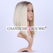 Chantiche .  Natural Looking Platinum Blonde Short Bob Hair Lace Wigs Fashion Brown Roots Synthetic Lace Front Wig for White Women 41cm