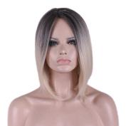 "Rise World Wig 35cm 14"" Short Carve Dark Roots Black to Beige Cosplay Hair Wig"