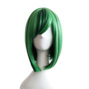 Rise World Wig 35cm Short Dark Green Mixed Green Cosplay Costume Full Head Wig