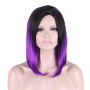 Rise World Wig Women's 40cm Short Dark Roots Black Root to Purple Full Hair Wig
