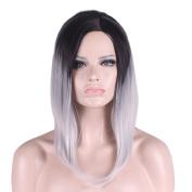 Rise World Wig Unisex 40cm Short Dark Roots Black Root to White Full Hair Wig
