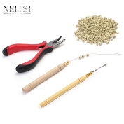 Neitsi Hair Extension Remove Pliers + Pulling Hook + Bead Device Tool Kits + 500pcs Miciro Rings